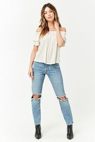 Smocked Off-the-Shoulder Cutout Top