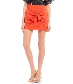 Living Doll Solid Knot-Front Mini Skirt
