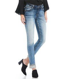 Miss Me Stone-Embellished Cuffed Jeans