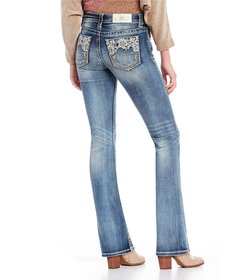 Miss Me Flower-Embroidered-Pocket Bootcut Jeans