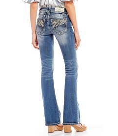 Miss Me Winged-Pocket Bootcut Jeans