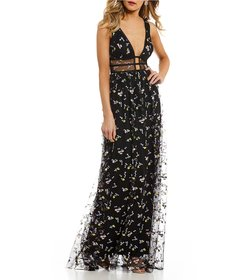 GB Social Ditzy Floral Embroidered Gown