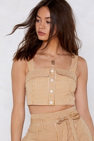 Be There Gingham Crop Top