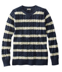 Double L Sweater Mixed-Cable Pullover, Crewneck