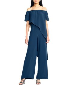 Adrianna Papell Off-the-Shoulder Ruffle Jumpsuit