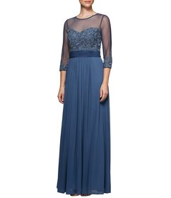 Alex Evenings Petite Size Long A-line Embroidered