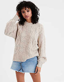 AE Chunky Cable Knit Pullover Sweater