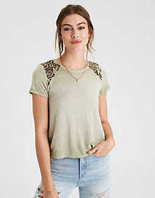 AE Soft & Sexy Lace Inset T-Shirt