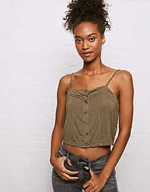 Don't Ask Why Button Front Cropped Cami