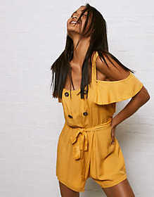 Don't Ask Why Cold Shoulder Button Front Romper