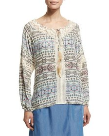 Neiman Marcus Printed Peasant Top W/ Feather Self-