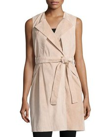 Neiman Marcus Belted Suede Trench Vest Blush