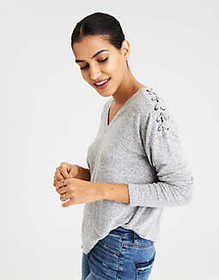 AE SOFT & SEXY LACE UP SHOULDER V NECK