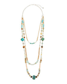Nakamol Beaded Triple-Strand Necklace Green/Brown
