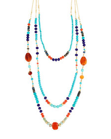 Nakamol Multicolor Bead Layered Necklace