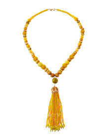 Lydell NYC Beaded Tassel Pendant Necklace