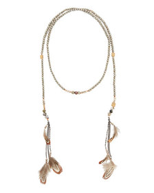 Nakamol Crystal Lariat Feather Necklace