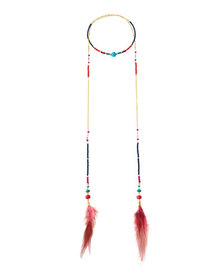 Nakamol Wrapped Lariat Feather Necklace