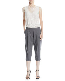 Brunello Cucinelli Sleeveless Lace-Top Suiting Cro