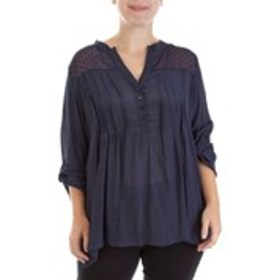 Plus Size Pleated Top with Buttoned Placket