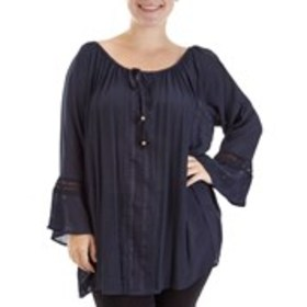 Plus Size Crocheted Tie Neck Top with Bell Sleeves