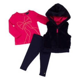 Baby Girl (12-24M) Nautica 3pc. Faux Fur Hooded Ve