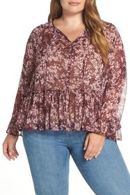 Lucky Brand Printed Ruffle Blouse (Plus Size)
