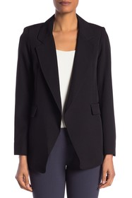Jones New York Notch Lapel Open Front Hi-Lo Blazer