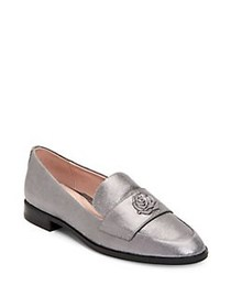 Taryn Rose Blossom Rose-Embossed Leather Loafers G