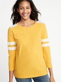 Relaxed Football-Style Slub-Knit Tee for Women