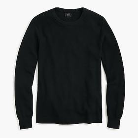 Cotton thermal knit crewneck sweater