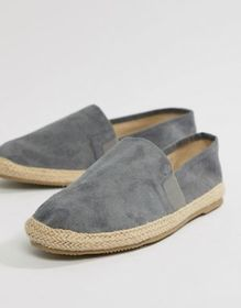 Brave Soul Wide Fit Faux Suede Espadrilles In Gray