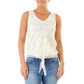 STAR VIXEN Sleeveless Lace Top with Tie Front Hem