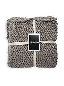 Saks Fifth Avenue Classic Textured Throw GREY