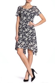 Robbie Bee Floral Lace Hi-Lo Dress