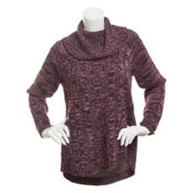 Jason Maxwell Cowl Neck Marled Cable Knit Pullover