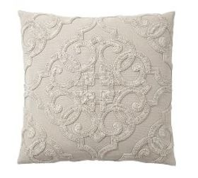 Drew Embroidered Pillow Cover - Flax