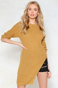 Don't Uneven Think About Knit Asymmetric Sweater
