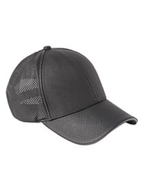 Perforated Faux Leather Baseball Cap