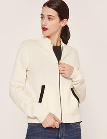 INTARSIA-BACK ZIP-UP SWEATER JACKET