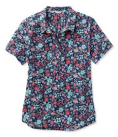 Textured Cotton Popover Shirt, Short-Sleeve Floral