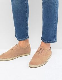 Frank Wright Lace Up Espadrilles In Pink Suede
