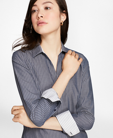 Non-Iron Fitted Striped Cotton Poplin Shirt