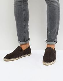 Frank Wright Wide Fit Slip On Espadrilles In Brown