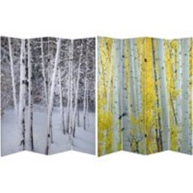 6' Tall Double Sided Birch Trees Room Divider