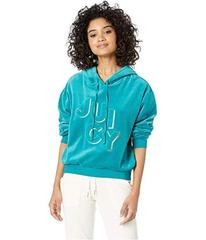 Juicy Couture Juicy Embossed Velour Hooded Pullove