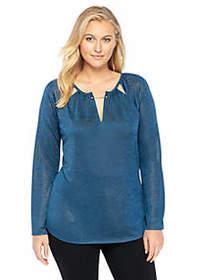 Plus Size Cutout Knit Top With Hardware Accent