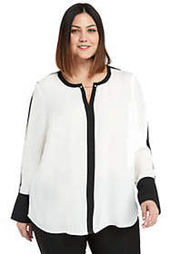 Plus Size Contrast Bell Sleeve Blouse with Metal T