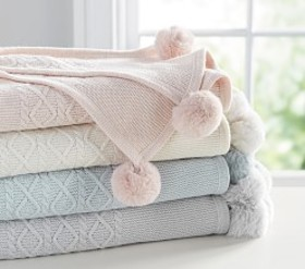 Monique Lhuillier Cable Knit Pom-Pom Baby Blanket