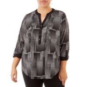 Plus Size Grid Print Blouse with Pleated Front